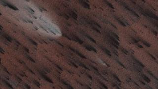 Image of Martian surface showing fan-shaped deposits