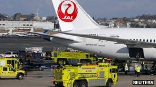 Fire engines surround Boeing Dreamliner in Boston