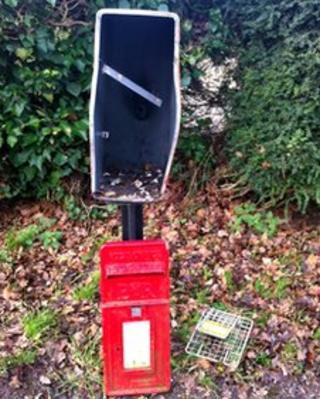 One of the post boxes in Highwood after fireworks were put inside it