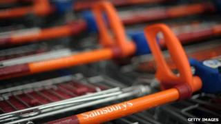 Sainsbury's shopping trolleys