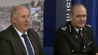 Patrick Geenty, Chief Constable for Wiltshire Police (r) and PCC Angus Macpherson