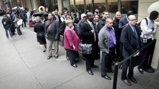 Queuing for a job fair in New York