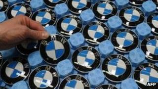 BMW badges at the company's Dingolfing factory in southern Germany