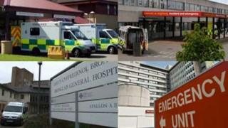 From top left clockwise: Prince Philip Hospital, Glan Clwyd, Bronglais and University Hospital Wales