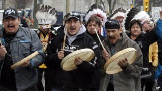 Members of the First Nations demonstrate on Parliament Hill in Ottawa, on 11 January 2013