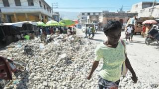 Woman in central Port-au-Prince
