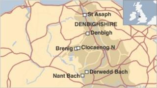 A map of the wind farm sites in Denbighshire