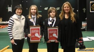 Rachael Smith (right) with School Reporters from Whitley Academy in Coventry