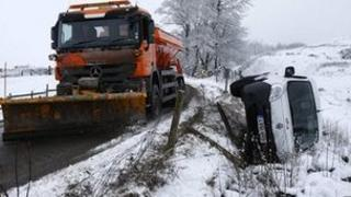 Snow plough and crashed van near Buxton