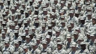 US troops await US President Barack Obama at Fort Stewart in Hinesville, Georgia, 27 April 2012