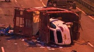 Scene of the A2 car transporter crash