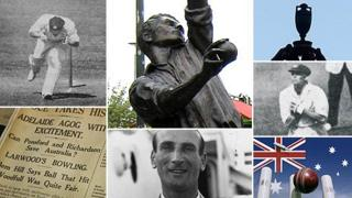 (Clockwise from top left) Bert Oldfield hit by a ball at the Adelaide Oval, statue of Harold Larwood, the Ashes urn, Bill Woodfull hit at the Adelaide Oval, Australia graphic, Douglas Jardine, Nottingham newspaper coverage of the Adelaide test