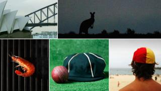 Clockwise from top left: Sydney Opera House, kangaroo, beach guard, cricket cloth cap, shrimp