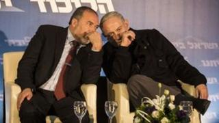 Avigdor Lieberman and Benjamin Netanyahu at an election rally - 16 Jan 2013