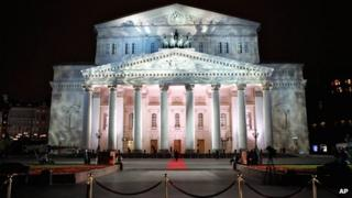 File picture of the Bolshoi Theatre illuminated for a gala opening in Moscow, October 2011