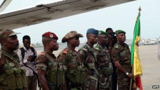 Benin soldiers prepare to leave Cotonou for Mali on 18 January 2013 at the Cotonu airport