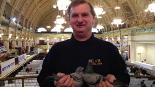 Peter Farrow and the Queen's pigeons