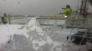 Snow and ice on aircraft wing