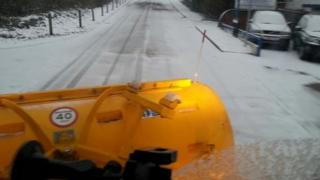 View from a camera on a gritting lorry in Kent