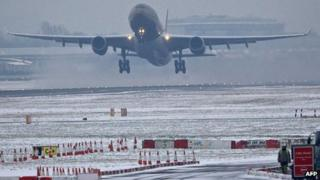 A plane takes off at Heathrow Airport on Monday