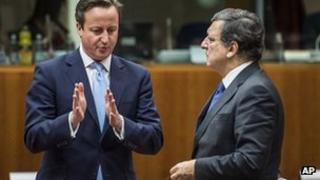 David Cameron, at a recent EU summit with EC president Jose Manuel Barroso