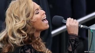 Beyonce performing the US national anthem