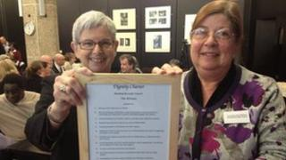 Sylvia Strong and Councillor Rose Williams with the Dignity Charter