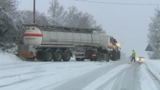 Snow, A38 near Tiverton, 23 January 2013