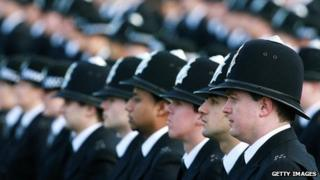 Line of police officers
