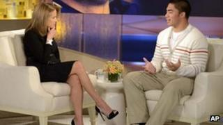 Notre Dame linebacker Manti Te'o speaks to Katie Couric 23 January 2013