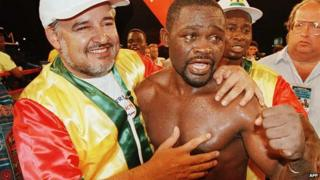 Azumah Nelson in 1996 after winning WBC Super Featherweight Champion in Las Vegas