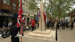 Peterborough's war memorial during dedication