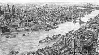 Stephen Wiltshire's drawing of the view from The Shard