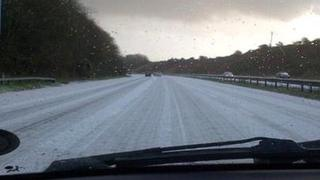 This BBC viewer's photograph show a hail-covered M4 between minutes before the first crash