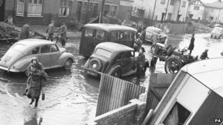 Flooded street in King's Lynn