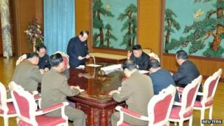 North Korean leader Kim Jong-un (C) presides over a meeting on state security in an undated picture released by North Korea's official KCNA news agency in Pyongyang on 27 January 2013