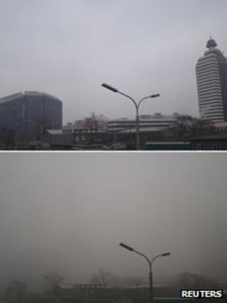 A combination photo shows a street lamp seen near Xuanwumen crossroad taken on 15 January 2013 (top) and 29 January 2013 (bottom) in central Beijing