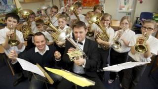 Grimethorpe Colliery Band with children from Birkwood Primary School