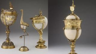 Ostrich egg cup and nautilus shell pieces