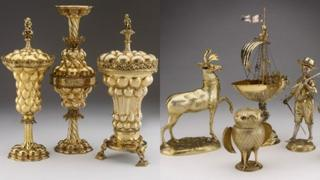 Silver gilt cups and figures