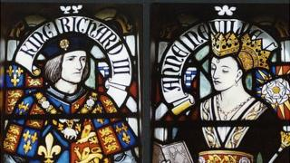 Stained glass window of Richard III and his wife Anne Neville