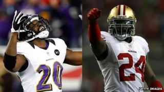 Ed Reed of the Baltimore Ravens (left) and Anthony Dixon of the San Francisco 49ers