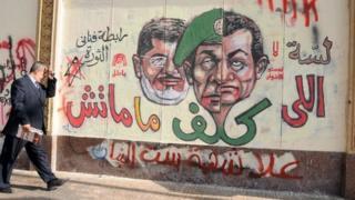 Graffiti picture of President Morsi