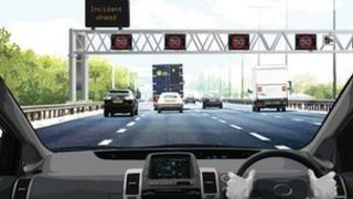 Artist impression of a stretch of the M1 seen from a driver's viewpoint