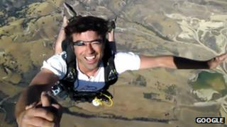 Skydiver wearing Project Glass