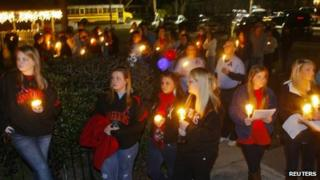 Over a hundred people gathered at City Hall for a candlelight vigil in Midland City, Alabama, 31 January 2013