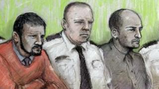 An artist's sketch of Jason Richards (l) and Ben Hope [r] in court, with a prison officer in between