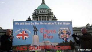 There have been protests outside Belfast City Hall