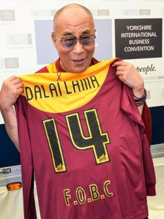 Dalai Lama and the Bradford City shirt