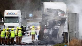 A90 lorry fire